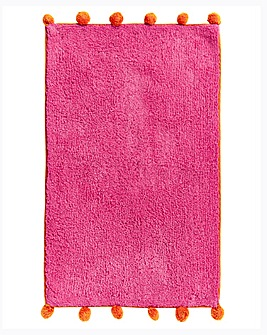 Pom Pom Bath Mat- Pink & Orange