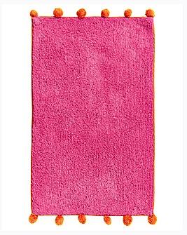 Pom Pom Bath Mat- Pink & Orange
