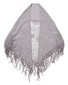 Grey Embroidered Mesh Scarf