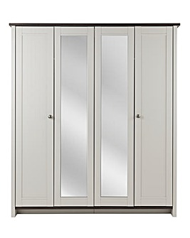Salcombe 4 Door Mirrored Wardrobe
