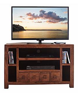 Java Ready Acacia Wood Corner TV Unit