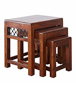 Jaipur Sheesham Wood Nest of 3 Tables