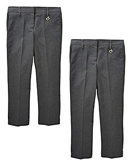 Girls Pack of Two Trousers Generous Fit