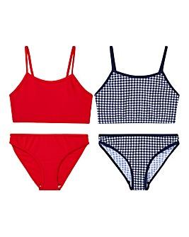 KD Girls Pack of Two Gingham Bikinis
