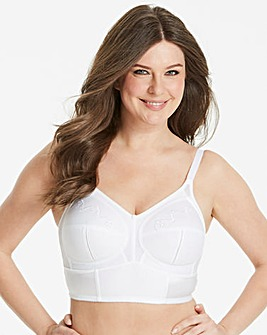 Dotty Longline NonWired White Bra