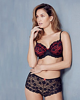 Daisy Lace Full Cup Wired Black Bra