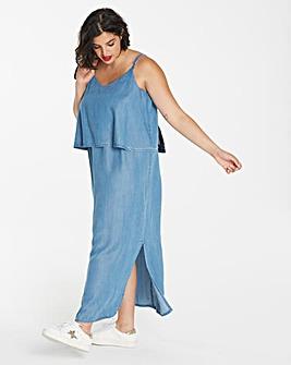 Soft Tencel Denim Layer Maxi Dress