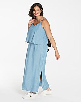 Soft Lyocell Denim Layer Maxi Dress