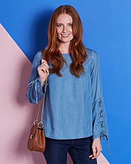Lyocell Denim Lace Up Sleeve Top