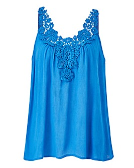 Lace Trim Woven Cami Top