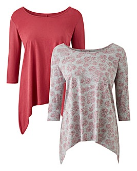 Blush/Grey Print Pack of 2 Hanky Hem Top