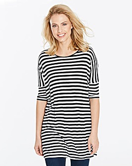 Black/White Stripe Oversized Viscose Top