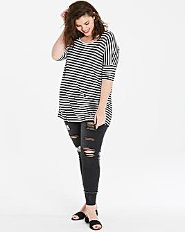 Black/White Stripe Oversized Viscose Top