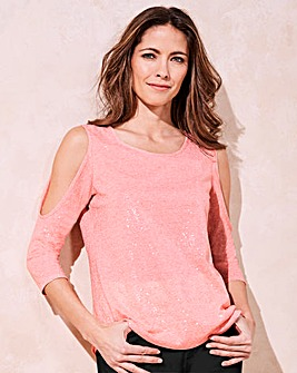 Sequin Cold Shoulder T-shirt