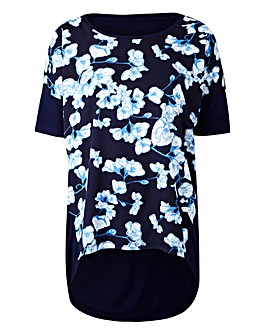 Blue Floral Dip Back Woven Front Top
