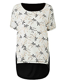 Ivory Floral Dip Back Woven Front Top