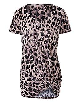 Leopard Print Twist Knot Top