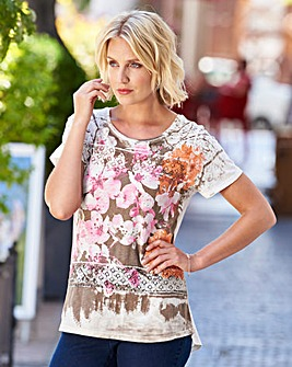 Printed Lace Panel T Shirt