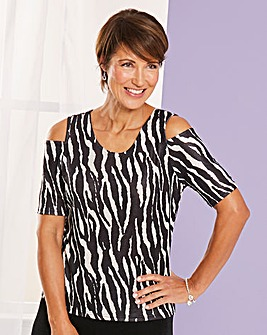 Print Cold Shoulder Slinky Top