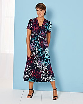 Jersey Ruched Waist Panel Dress 43IN