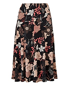 Print Jersey Panelled Skirt 32in
