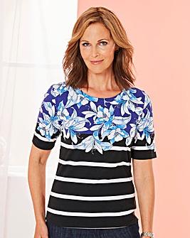 Floral Stripe Print T Shirt