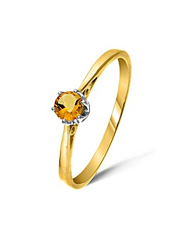 9ct Gold 0.2Ct Citrine Ring