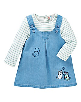 KD Baby Girl Denim Dress and T-Shirt Set
