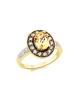 9Ct Gold Diamond And Citrine Ring