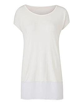 Ivory Woven Hem T-Shirt