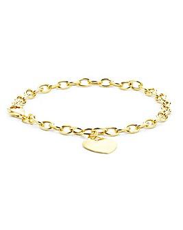 9Ct Gold Heart Tag Bracelet