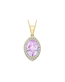 9Ct Gold Diamond And Amethyst Necklace