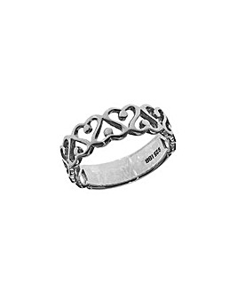 Sterling Silver Swirl & Heart Ring