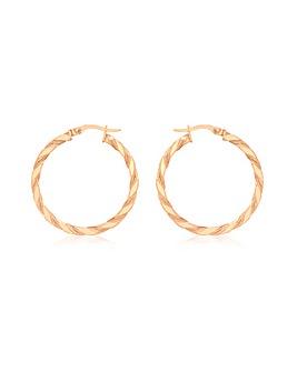 9Ct Gold Med Twist Creole Earrings