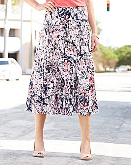 Floral Print Jersey Skirt Length 29in