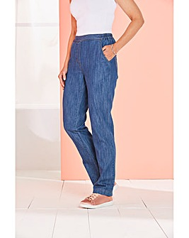Pull-On Straight-Leg Jeans Extra Short