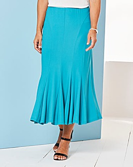 Plain Jersey Skirt with Godets L27in