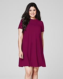 Damson Ribbed Jersey Swing Dress