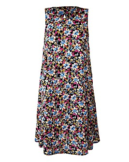 Sleeveless Swing Dress - Pink Floral