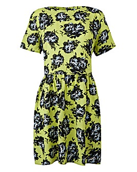 Yellow Print Floral Print Dress