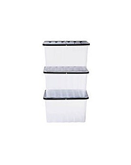 Supa Nova 3 x 28 L Lidded Storage Box.