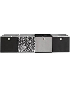 HOME Set of 4 Non Woven Boxes - Damask.