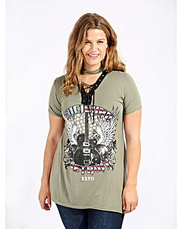 Koko Khaki Guitar Print Lace Up Top