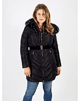 Lovedrobe Black Fur Trim Long Jacket