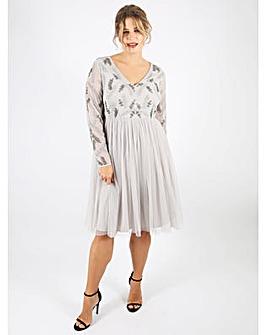 Lovedrobe Luxe grey v-neck midi dress