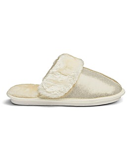 Heavenly Soles Metallic Mule Slippers