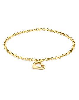 9Ct Gold Floating Open Heart Bracelet