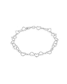 Sterling Silver Open Heart Link Bracelet