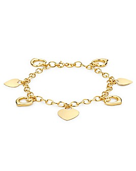 9Ct Gold Bracelet With 7 Floating Hearts