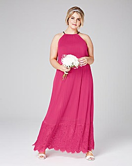 Pleated Maxi with Lace Hem